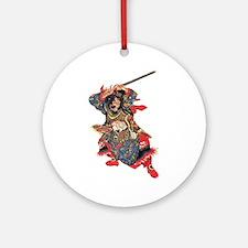 Japanese Samurai Warrior Ornament (Round)