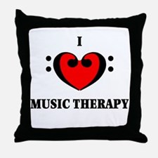 I Luv Music Therapy Throw Pillow