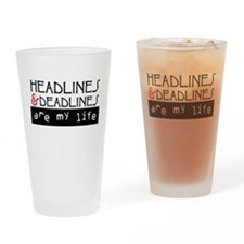 Headlines & Deadlines Drinking Glass