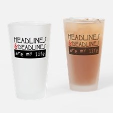 Headlines & Deadlines Drinking Glass