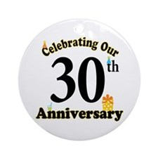 30th Anniversary Party Gift Ornament (Round)