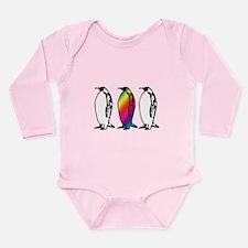 Rainbow Penguin Long Sleeve Infant Bodysuit