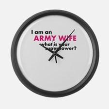 Super Powered Army Wife! Large Wall Clock