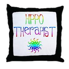 Hippo Therapist (Tie-Dye) Throw Pillow