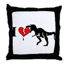 Warning! dinosaur eats heart Throw Pillow