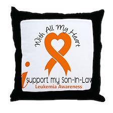 With All My Heart Leukemia Throw Pillow
