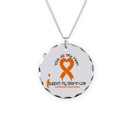 With All My Heart Leukemia Necklace Circle Charm