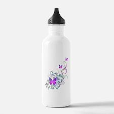 Bright Purple Butterflies Sports Water Bottle