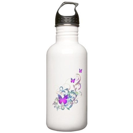 Bright Purple Butterflies Stainless Water Bottle 1