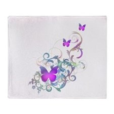 Bright Purple Butterflies Throw Blanket