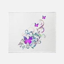 Bright Purple Butterflies Throw Blanket