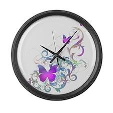 Bright Purple Butterflies Large Wall Clock