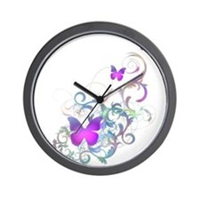 Bright Purple Butterflies Wall Clock