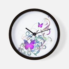 Bright Purple Butterflies Wall Clock