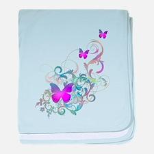 Bright Purple Butterflies baby blanket