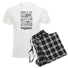 Eat, Sleep, Work, Play Bagpipes Men's Light Pajama