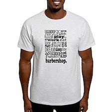 Eat, Sleep, Work, Play Barbershop T-Shirt