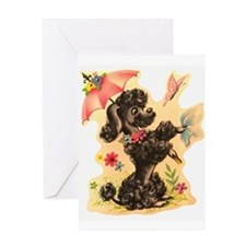 Perky Poodle Greeting Card