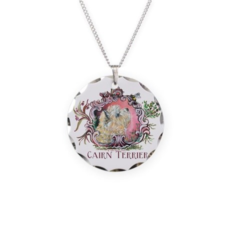 Cairn Terrier & Bee Necklace Circle Charm