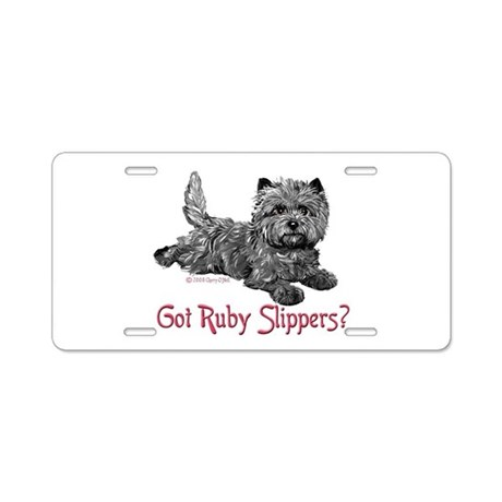 Cairn Terrier Ruby Slippers Aluminum License Plate