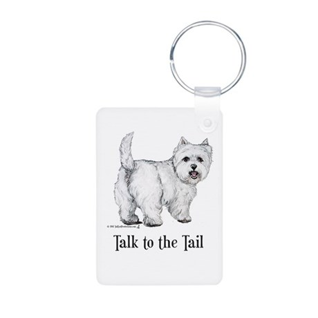 Westie Talk to the Tail Aluminum Photo Keychain