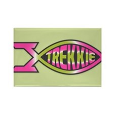 Trekkie Fish Pink Green Rectangle Magnet