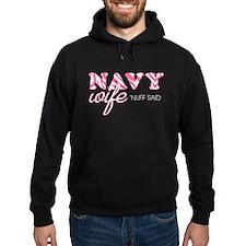 Pink Navy Wife Zebra Print Hoodie