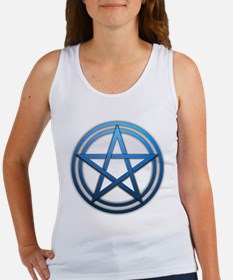 Blue Metal Pagan Pentacle Women's Tank Top