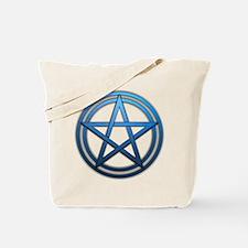 Blue Metal Pagan Pentacle Tote Bag