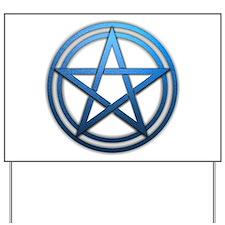 Blue Metal Pagan Pentacle Yard Sign