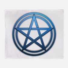 Blue Metal Pagan Pentacle Throw Blanket