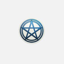 Blue Metal Pagan Pentacle Mini Button