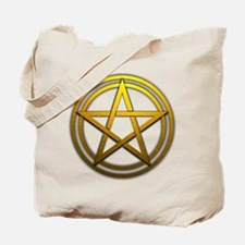 Gold Metal Pagan Pentacle Tote Bag
