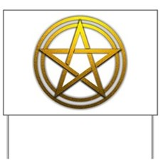 Gold Metal Pagan Pentacle Yard Sign