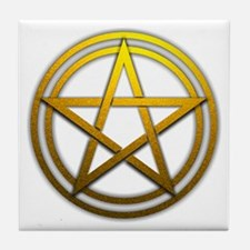 Gold Metal Pagan Pentacle Tile Coaster