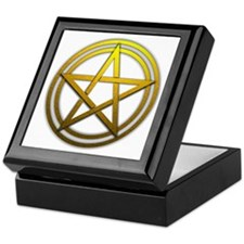 Gold Metal Pagan Pentacle Keepsake Box