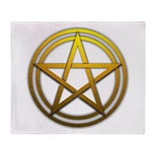 Gold Metal Pagan Pentacle Throw Blanket
