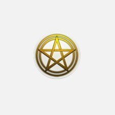Gold Metal Pagan Pentacle Mini Button