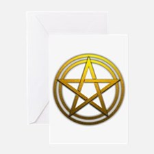 Gold Metal Pagan Pentacle Greeting Card