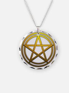Gold Metal Pagan Pentacle Necklace