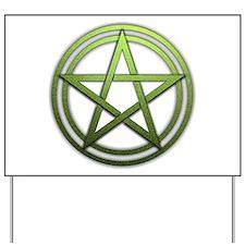 Green Metal Pagan Pentacle Yard Sign