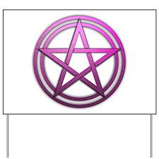 Pink Metal Pagan Pentacle Yard Sign