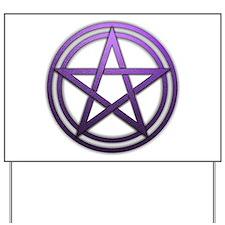 Purple Metal Pagan Pentacle Yard Sign