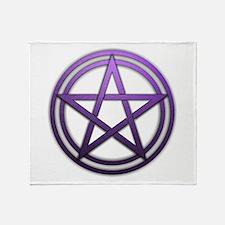Purple Metal Pagan Pentacle Throw Blanket