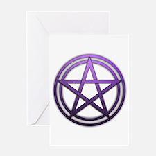 Purple Metal Pagan Pentacle Greeting Card