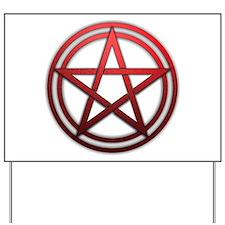 Red Metal Pagan Pentacle Yard Sign