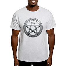 Silver Metal Pagan Pentacle T-Shirt