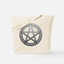 Silver Metal Pagan Pentacle Tote Bag