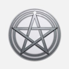Silver Metal Pagan Pentacle Ornament (Round)