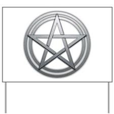 Silver Metal Pagan Pentacle Yard Sign